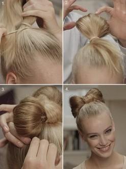 Прическа в виде банта из волос