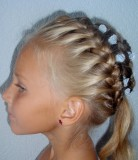 прическа для девочки - корзинка из косичек с хвостом