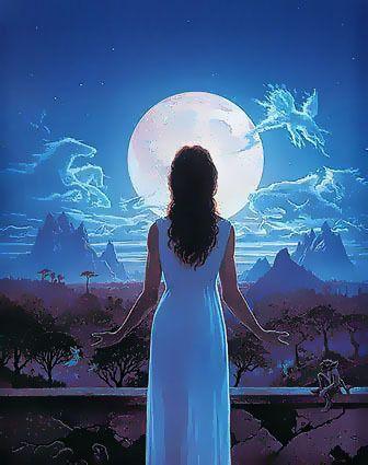 девушка с длинными волосами и Луна