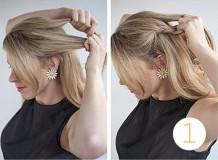 французская односторонняя коса наискосок - схема плетения, 1