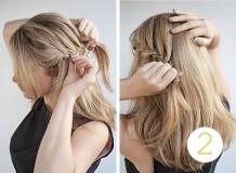 французская односторонняя коса наискосок - схема плетения, 2