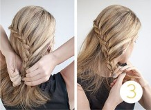 французская односторонняя коса наискосок - схема плетения, 3