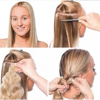 Коса с накладными прядями