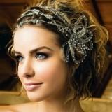романтическая свадебная прическа для коротких волос с ободком