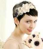свадебная прическа на короткие волосы с ободком, минимализм