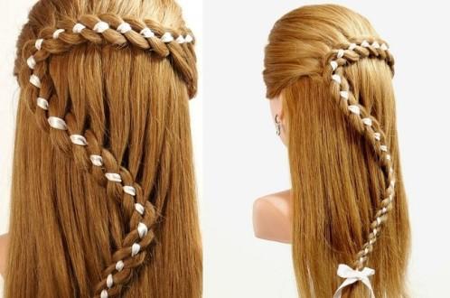 тонкая коса с лентой